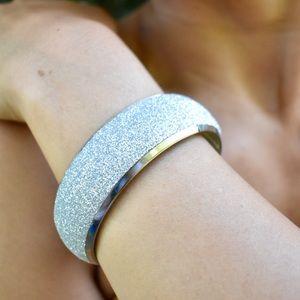 Jewelry - Silver Glitter Wide Bangle